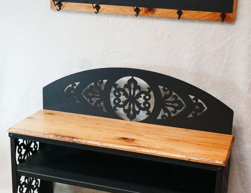 Geometric Pattern Shoe Bench
