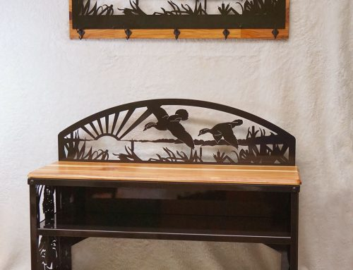 Waterfowlers' Bench and Matching Coat Rack-Bronze finish and Cedar Wood